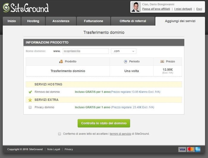 migrare dominio su siteground