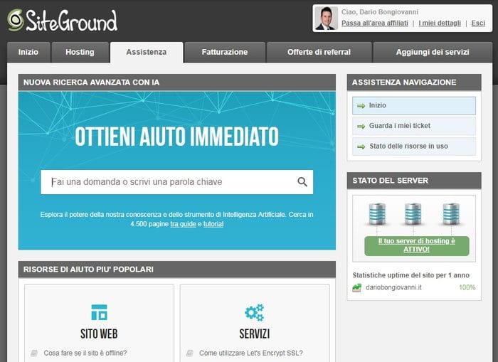 spostare sito su siteground