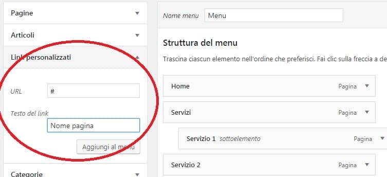 link personalizzati per intestazioni non cliccabili