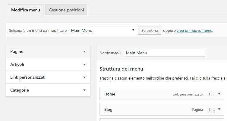 organizzare la struttura del menù in WordPress